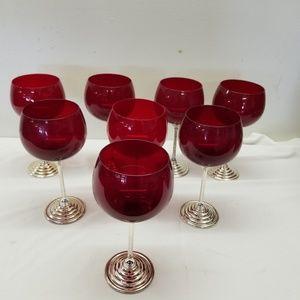 Vintage set of 8 Rubi Red cocktail wine glasses